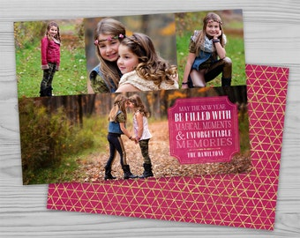 Printable Holiday Card - Pink and Gold Faux Foil - Multi Photo Flat Card - Customizable Printable Design