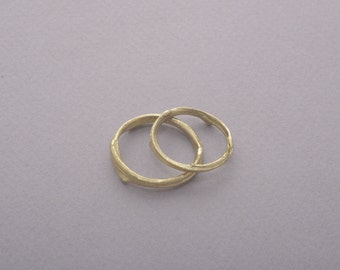 Solid 14 K Gold Wedding Band Set, Men's and Women's Wedding Rings, Gold Bridal Rings, Tree Branch Twig Rings BE75