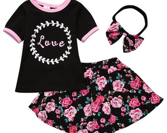 Girls Love Outfit / Pink & Black Shirt / Floral Skirt / Floral Headband / Baby / Girl / Toddler