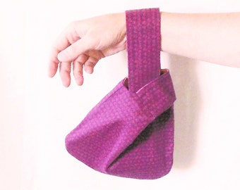 Mini knot bag, handmade wristlet, Japanese knot bag, purple wristlet,  reversible handbag, clutch alternative, pink bag