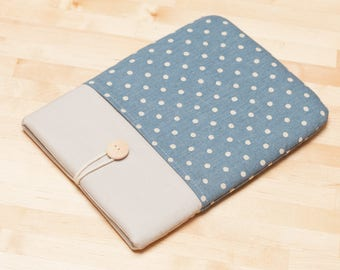 "Macbook Pro case / Laptop case  / Macbook Air 13 case / 13""  Laptop sleeve / padded with pockets  -  Linen blue dots"