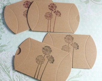 Hand stamped pillow boxes red or black stamped dandelion  5 or 10 boxes