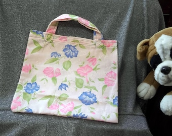 Book Lunch N Small Gift Tote Bag, Pink N Blue Morning Glories Print