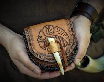 Viking Leather Belt Pouch with Carved Antler Tip Toggle and Celtic / Viking Raven Design Huginn Muninn