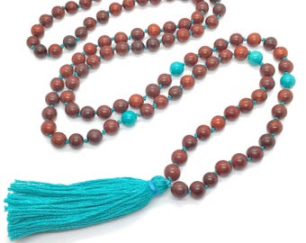 108 Bead Turquoise Stone and Wood Bead Mala with Matching Knotted Cord and Tassel