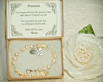 Vintage Pearls Mother of the Groom Bracelet -SP- Personalized Vintage Gift Card -- Mother's Day Bracelet -- Authentic Freshwater Pearls