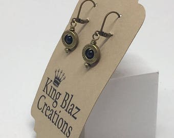 E1833: Antique Brass with Black Onyx Beads Dangle Earrings -- Clasp Back