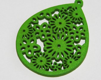 10 pcs of Carved Wood teardrop Pendant with flower pattern 51x39x3mm Lime green