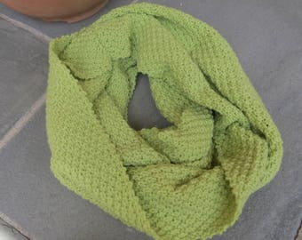 Ready to Ship || Lime Green Moss Stitched Infinity Scarf