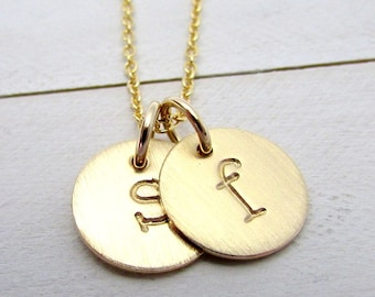 Two-Charm Gold Letter Necklace | Initial Two Pendant Necklace | 14K Gold Filled Jewelry | Personalized Gold Charms