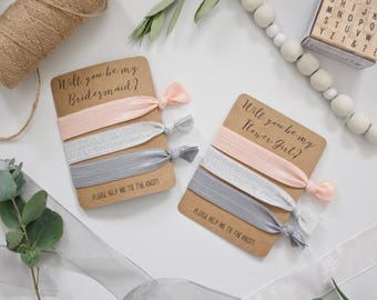 Will You be My Bridesmaid/Flower Girl? - Set of 3 Hair Ties - Pinky-Peach Blush, Silver Sparkle, Grey - Wedding Favour Bridesmaid Proposal