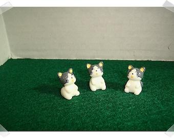 Fairy Garden Resin Gray/White Cats/ Set of 3*/Minis/Supplies*