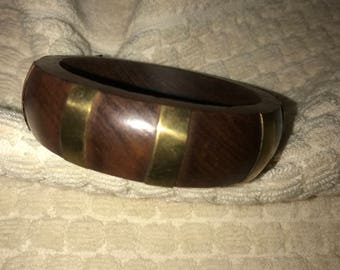 Wide Wooden Wood Brass Inlay Bangle Bracelet