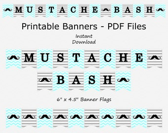 Mustache Bash Banner - Blue & Grey - Stripes and Chevron - Mustache - Birthday - PRINTABLE - INSTANT DOWNLOAD