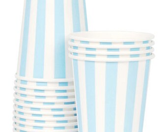 Paper Cups | Blue Party Cups | Cups | Pale Blue & White Stripe Cups | Blue Paper Cups | Baby Shower | 1st Birthday | New Arrival