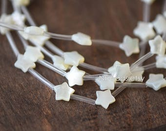 10pcs White Mother of Pearl Shell Star Beads 8mm -(#V1315)