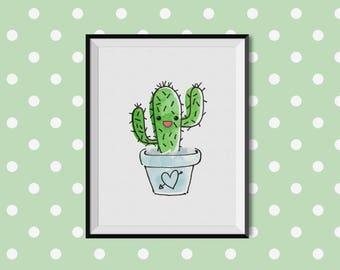 Watercolour Cactus Love print, digital download printable, Home decor