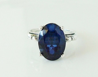 deep blue lab-created sapphire solitaire, Sterling silver ring
