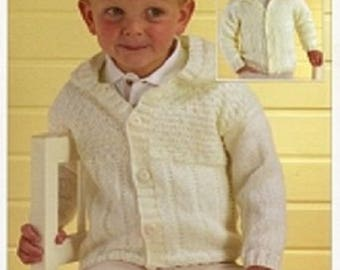 "Boys  Cardigan, Jacket with hood or  collar Knitting Pattern - DK (18""- 28"") BHKC 17, sweater pattern, hoodie pattern, hand knitting"