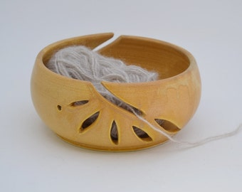 Double Ceramic Yarn Bowl, Tan Hand Carved Knitting Bowl, Wheel Thrown Clay Yarn Organizer, Gift for Knitter, Made to Order