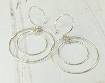 CONCENTRIC HOOP EARRINGS, sterling silver handmade circle earrings large hoops dangle earrings