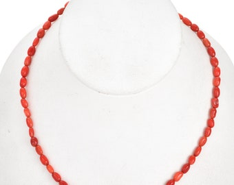 4mm by 6mm Coral Beads 16 inch Long Strand - Gemstone Beads - Jewelry Supplies