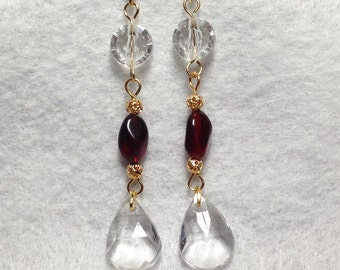 Red and Gold Clear Crystal Dangle Earrings