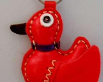 Hand sewn Leather Red Duck Keychain