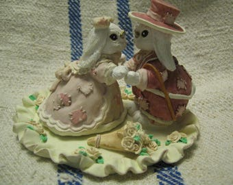 """Patchville Bunnies Collection """"Love Lasts Forever"""" Figurine Reg. No. BG-78 1994 Bunny Decor Bunny Collectable Free Shipping"""