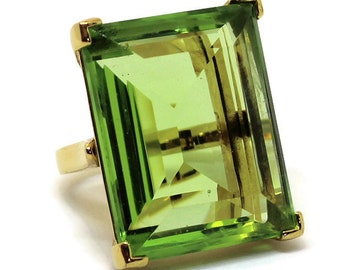 Vintage Kenneth Jay Lane Large Emerald Cocktail Ring Statement Jewelry Bridal Jewelry Boho Chic