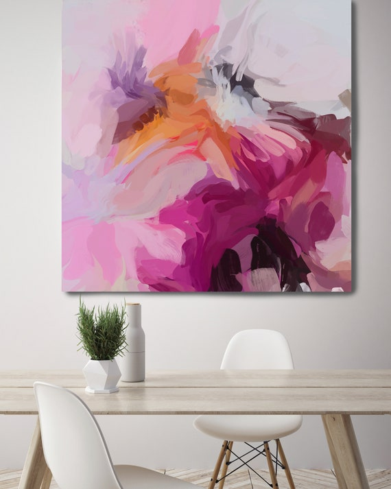 "Life Of My Dreams 5, Art Abstract Print on Canvas up to 50"", Pink Orange Purple Abstract Canvas Art Print by Irena Orlov"