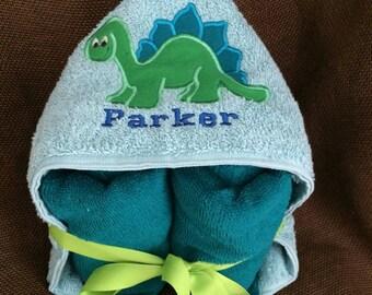 Dinosaur hooded bath towel