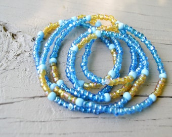 WRAP BRACELET NECKLACE Seed Bead Wrap Bracelet or Long Necklace Royal Blue Iridescent Beads Gold Accents