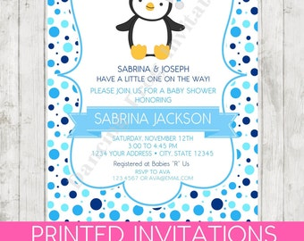 It's A Boy Penguin Baby Shower Invitations - Printed Penguin Baby Shower Invitation by Dancing Frog Invitations
