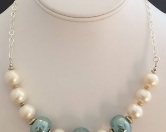 Freshwater Pearl & Green Glass