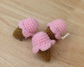 Ice Cream amigurumi pin , Ice cream pin , pink ice cream pin , christmas gifts