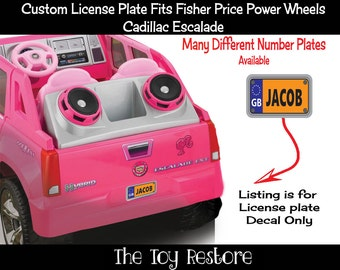 One Custom License Plate : New Replacement Decals Stickers fits Fisher Price Power Wheels Escalade UK GB