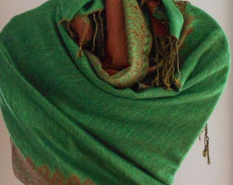 Festival Scarf,Green Pashmina Cashmere, Shawl,Ethnic shawl, Pashmina Scarf,Scarves,Shawls,Mother of the bride Shawl,,Wedding wrap