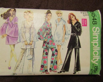 1969 Ladies SIMPLICITY Pattern Mini Dress/Pants/Sash/Scarf Size 14