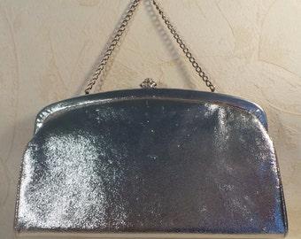 Vintage  Purse, Silver Clutch, Retro Purse, Silver Metallic Purse, Vintage Wristlet, 10x5, Silver Evening Bag, Clutch Purse, Wristlet Purse