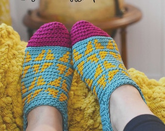 Instant PDF Download, Fair Isle Slippers, Crochet Pattern
