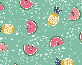 Tropical Fruit Fabric, Aqua Blue Fabric, Watermelon, Pineapple, Fruit, Fabric, Club Tropicana, Dashwood Studio, 100% Quilting Cotton Fabric