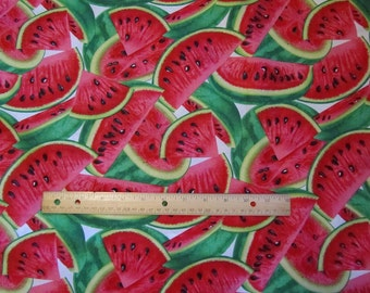White with Red/Green Watermelon Fabric by the Half Yard