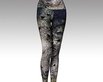 Black Birds, Trees, Woodlands Printed Leggings, Yoga Leggings, Yoga Pants, Gray and Black Leggings, Women's Leggings, Leggings,