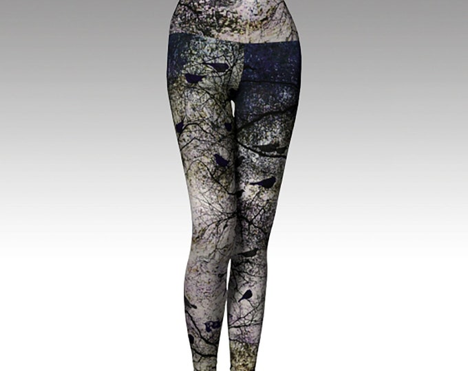 Black Birds, Trees, Woodlands Printed Leggings, Yoga Leggings, Yoga Pants, Gray and Black Leggings, Women's Leggings, Leggings,