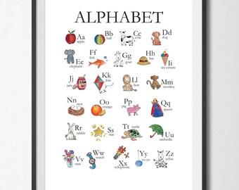 Alphabet Chart, ABC Chart, Watercolour Nursery art