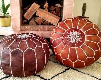 Set of 2 Premium Handmade Moroccan Leather Pouf Ottoman Genuine leather Moroccan Pouf  pouffe PC33