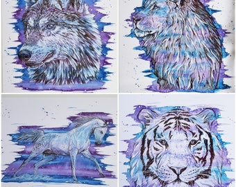 Set of prints, purple decor, horse print, lion decor, wolf decor, animal art, wall art, jungle decor, wolf print, lion print, tiger print