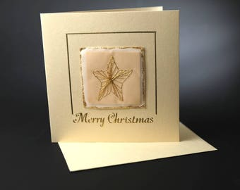 Christmas card, star card, gold card, gold star, greetings card, merry Christmas, traditional christmas card, hand stitched card