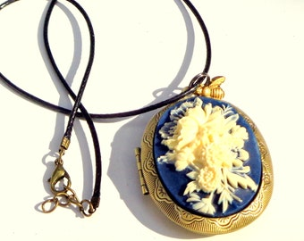 Large, Cameo Locket Necklace, Ivory 3D Flowers, Resin, Dark Blue Background, Blue Leather Cord Necklace, Antiqued Gold Tone Locket